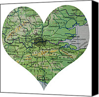 Abstract Map Photo Canvas Prints - I Love London Heart Map Canvas Print by Georgia Fowler