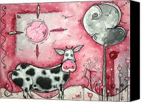 Pink Canvas Prints - I LOVE MOO Original MADART Painting Canvas Print by Megan Duncanson