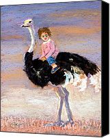 Ostrich Pastels Canvas Prints - I Love My Very Own Ostrich Canvas Print by Cheryl Whitehall