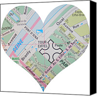 Abstract Map Canvas Prints - I Love Paris Heart Map Canvas Print by Georgia Fowler