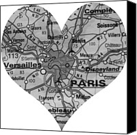 Engagement Photo Canvas Prints - I Love Paris in Black and White Canvas Print by Georgia Fowler
