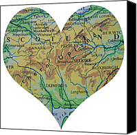 Abstract Map Photo Canvas Prints - I Love Scotland Heart Map Canvas Print by Georgia Fowler