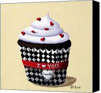 Kitchen Canvas Prints - I Love You Cupcake Canvas Print by Catherine Holman