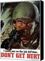 World War I Digital Art Canvas Prints - I Need You On The Job Full Time Canvas Print by War Is Hell Store