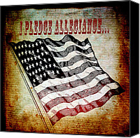 Patriotism Mixed Media Canvas Prints - I Pledge Allegiance Canvas Print by Angelina Vick