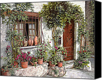 Door Canvas Prints - I Vasi Dietro La Grata Canvas Print by Guido Borelli