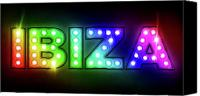 Sign Canvas Prints - Ibiza in Lights Canvas Print by Michael Tompsett