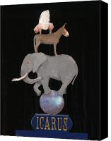 Donkey Mixed Media Canvas Prints - Icarus Canvas Print by Steve Karol