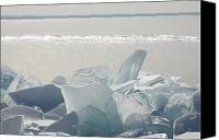 Susan Canvas Prints - Ice Chunks On The Shores Of Lake Canvas Print by Susan Dykstra