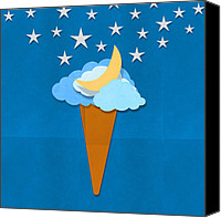 Moon Mixed Media Canvas Prints - Ice Cream Design On Hand Made Paper Canvas Print by Setsiri Silapasuwanchai
