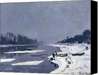 Bougival Canvas Prints - Ice on the Seine at Bougival Canvas Print by Claude Monet