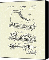 Skates Canvas Prints - Ice Skate 1939 Patent Art Canvas Print by Prior Art Design