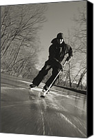 Skates Canvas Prints - Ice Skater With A Hockey Stick Canvas Print by Skip Brown
