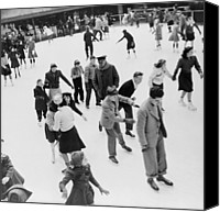 Skates Canvas Prints - Ice Skaters At Rockefeller Center Canvas Print by Everett