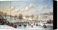 Ice-skating Canvas Prints - Ice Skating, 1865 Canvas Print by Granger