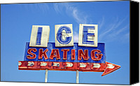 Vintage Signs Canvas Prints - Ice Skating Canvas Print by Matthew Bamberg