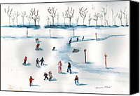 Christmas Cards Painting Canvas Prints - Ice Skating on the Pond Canvas Print by Sharon Mick