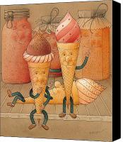 Kitchen Drawings Canvas Prints - Icecream in the Fridge Canvas Print by Kestutis Kasparavicius