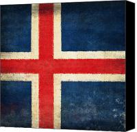 Abstract Map Photo Canvas Prints - Iceland flag Canvas Print by Setsiri Silapasuwanchai