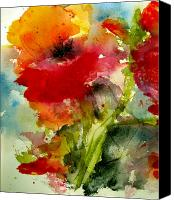 Gold Painting Canvas Prints - Iceland Poppy Canvas Print by Anne Duke