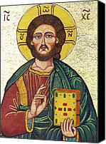 Byzantine Icon Canvas Prints - Icon of Jesus As Christ Pantocrator Canvas Print by Ion vincent DAnu