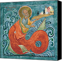Jonah Canvas Prints - Icon of Jonah and the Whale Canvas Print by Juliet Venter