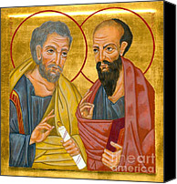 Icon Byzantine Canvas Prints - Icon of Sts Peter and Paul Canvas Print by Juliet Venter