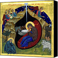 Icon Byzantine Canvas Prints - Icon of the Nativity Canvas Print by Juliet Venter