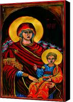 Icon Byzantine Canvas Prints - Icon  Canvas Print by Yvonne Ayoub