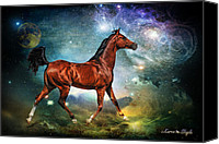 Digital Art Composite Canvas Prints - If Wishes Were Horses Canvas Print by Karen Slagle