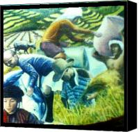 Farming Pastels Canvas Prints - Ifugao Canvas Print by Mark  Mabuna
