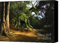 Reptiles Mixed Media Canvas Prints - Iguanodon In The Jungle Canvas Print by Frank Wilson