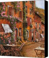 Breakfast Canvas Prints - Il Bar Sulla Discesa Canvas Print by Guido Borelli
