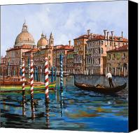 Night Canvas Prints - Il Canal Grande Canvas Print by Guido Borelli