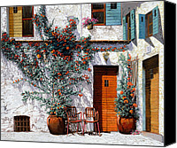 Greece Painting Canvas Prints - Il Cortile Bianco Canvas Print by Guido Borelli