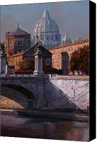 Vatican Painting Canvas Prints - Il Cupolone Canvas Print by Guido Borelli