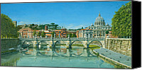 Vatican Painting Canvas Prints - Il Fiumi Tevere Roma Canvas Print by Richard Harpum
