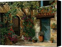 Garden Painting Canvas Prints - Il Giardino Francese Canvas Print by Guido Borelli