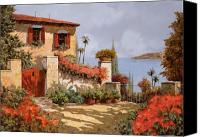 House Painting Canvas Prints - Il Giardino Rosso Canvas Print by Guido Borelli