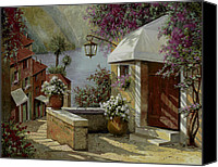 Street Scene Canvas Prints - Il Lampione Oltre La Tenda Canvas Print by Guido Borelli