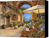 Tuscany Painting Canvas Prints - Il Mercato Del Lago Canvas Print by Guido Borelli