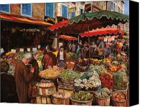 Market Canvas Prints - Il Mercato Di Quartiere Canvas Print by Guido Borelli