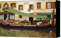 Italy Canvas Prints - il mercato galleggiante a Venezia Canvas Print by Guido Borelli