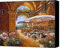 Tuscany Painting Canvas Prints - Il Mercato Sotto I Portici Canvas Print by Guido Borelli