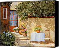 Streetscene Canvas Prints - Il Muretto E Il Tavolo Canvas Print by Guido Borelli