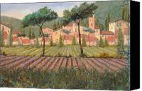 Fields Canvas Prints - Il Villaggio Tra I Campi Di Lavanda Canvas Print by Guido Borelli