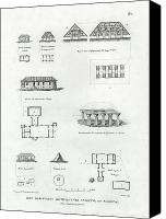 Modern Architecture Drawings Canvas Prints - Iles Mariannes Architecture Ancienne et Moderne Canvas Print by E Olivier