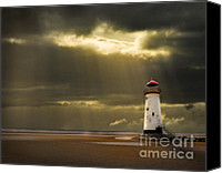 Seashore Canvas Prints - Illuminated Beacon Canvas Print by Meirion Matthias