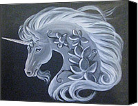 Black Unicorn Canvas Prints - Illuminated Unicorn Canvas Print by Radha Flora Cloud