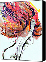 Drips Mixed Media Canvas Prints - Illustration Hair Splash Canvas Print by Mf Ny